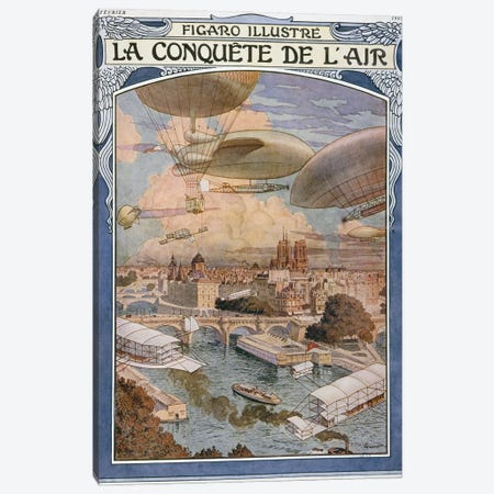 The Conquest Of Air, Cover Illustratio, Figaro Illustre, February 1909 Canvas Print #BMN11321} by Eugene Grasset Art Print