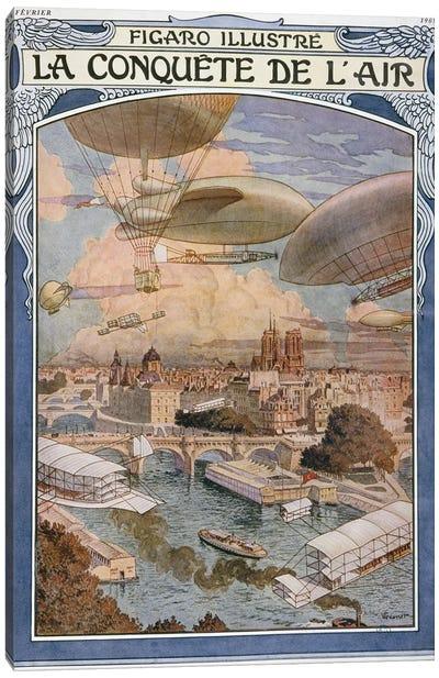 The Conquest Of Air, Cover Illustratio, Figaro Illustre, February 1909 Canvas Art Print
