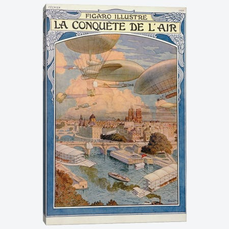 The Conquest Of The Air, 1909 Canvas Print #BMN11322} by Eugene Grasset Canvas Art Print
