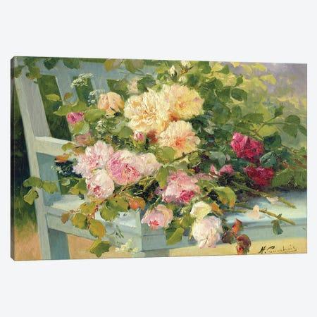 Roses On The Bench Canvas Print #BMN11323} by Eugene Henri Cauchois Art Print