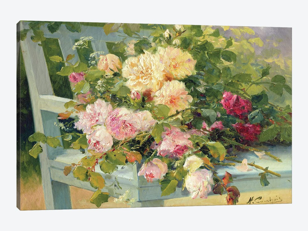 Roses On The Bench by Eugene Henri Cauchois 1-piece Canvas Print