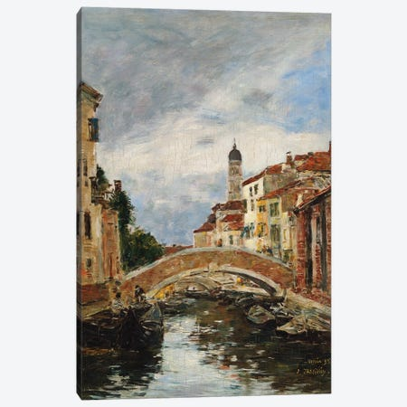 A Small Venetian Canal, 1895 Canvas Print #BMN11324} by Eugene Louis Boudin Canvas Artwork