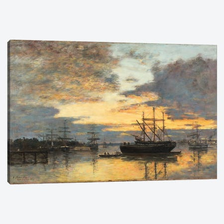 Bordeaux, In The Harbor, 1880 Canvas Print #BMN11326} by Eugene Louis Boudin Canvas Wall Art