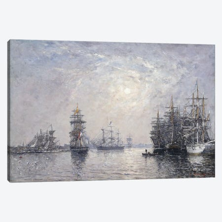 Le Havre, Eure Basin, Sailing Boats At Anchor, Sunset, 1870 Canvas Print #BMN11328} by Eugene Louis Boudin Canvas Art Print