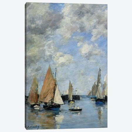 The Jetty At High Tide, Trouville Canvas Print #BMN11333} by Eugene Louis Boudin Canvas Art