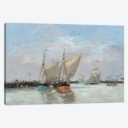 Trouville, The Jetties, High Tide, 1876 Canvas Print #BMN11335} by Eugene Louis Boudin Art Print