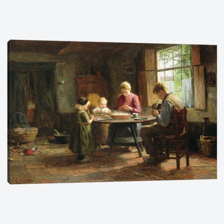 A Dutch Interior - Grace Before The Meal Canvas Print #BMN11339} by Evert Pieters Canvas Wall Art