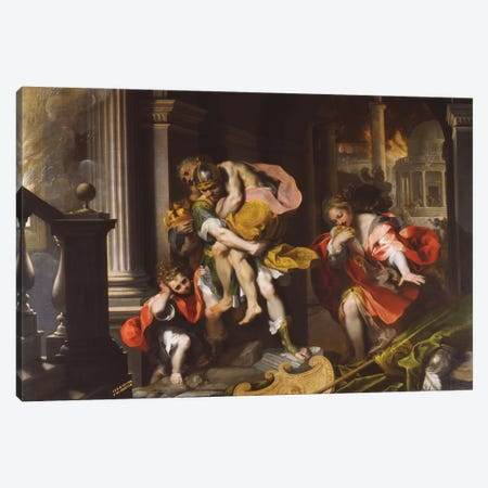 Aeneas' Flight From Troy, 1598 Canvas Print #BMN11346} by Federico Barocci Canvas Art