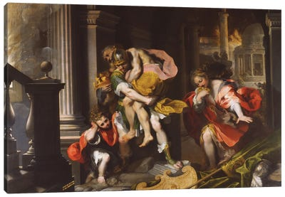 Aeneas' Flight From Troy, 1598 Canvas Art Print