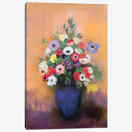 Anemones and lilac in a Blue Vase, after 1912  Canvas Print #BMN1134} by Odilon Redon Art Print