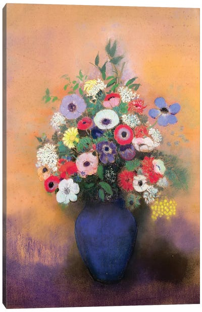 Anemones and lilac in a Blue Vase, after 1912  Canvas Art Print
