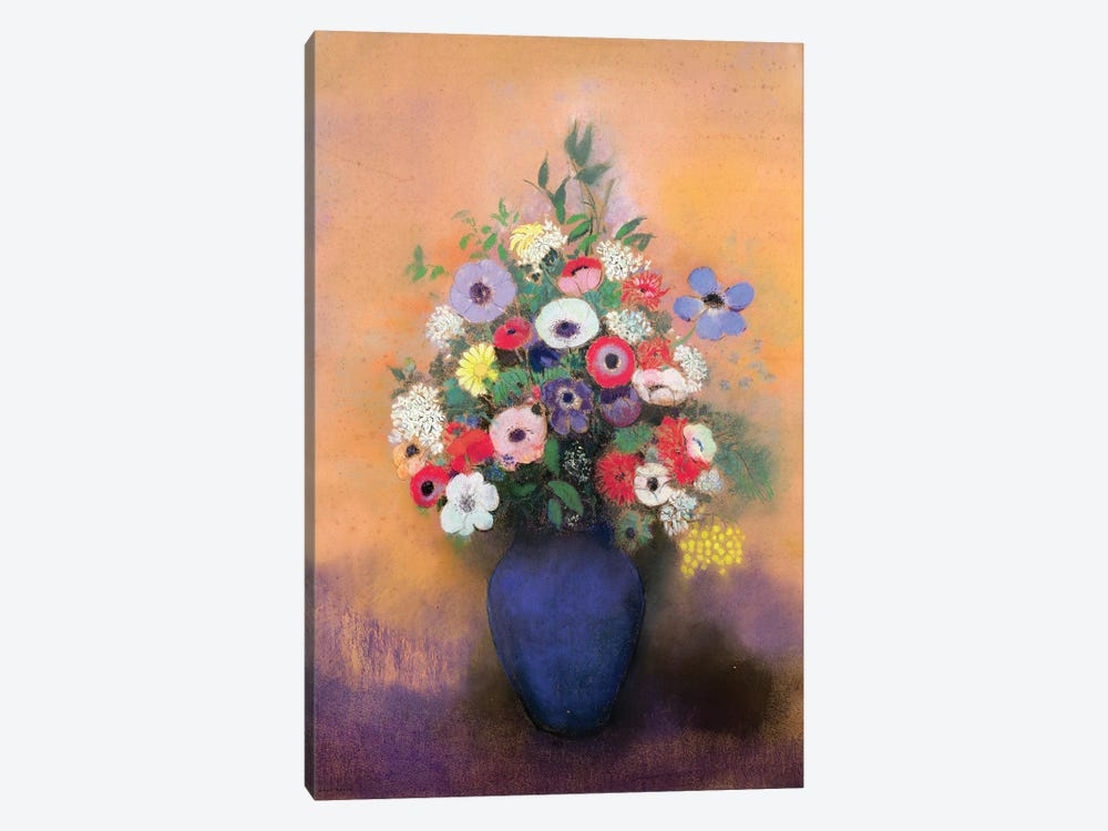 Anemones and lilac in a Blue Vase, after 1912  by Odilon Redon 1-piece Canvas Art Print