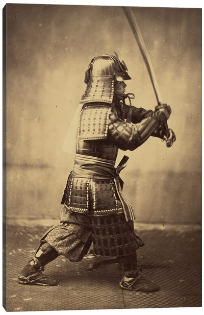 Japanese Warrior In Armour, 1865-67 Canvas Art Print