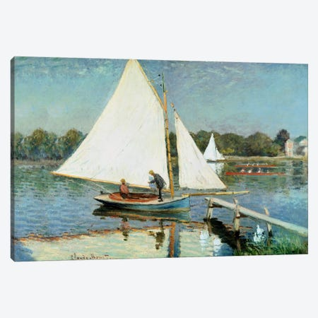 Sailing at Argenteuil, c.1874  Canvas Print #BMN1135} by Claude Monet Canvas Print