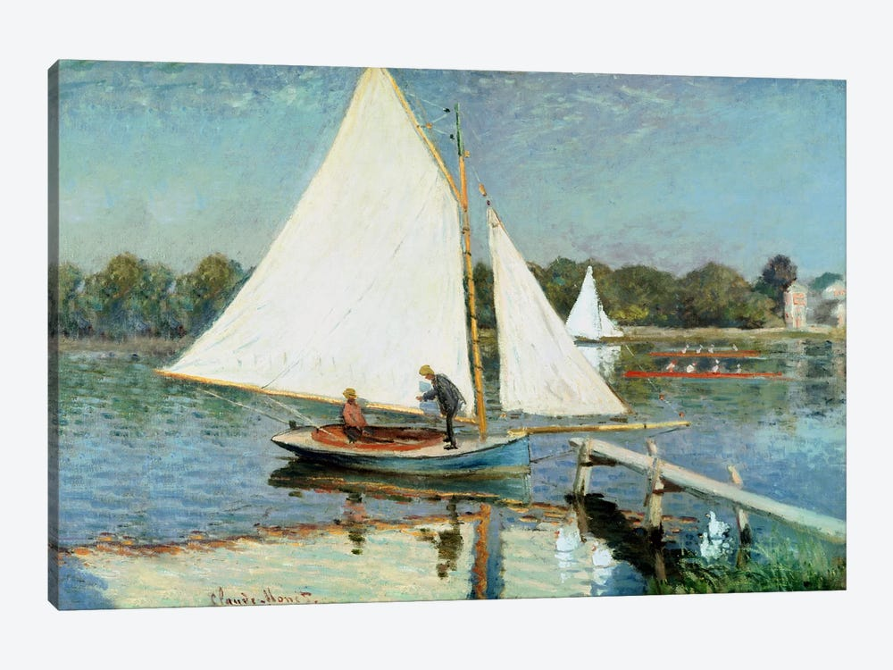 Sailing at Argenteuil, c.1874  by Claude Monet 1-piece Canvas Artwork