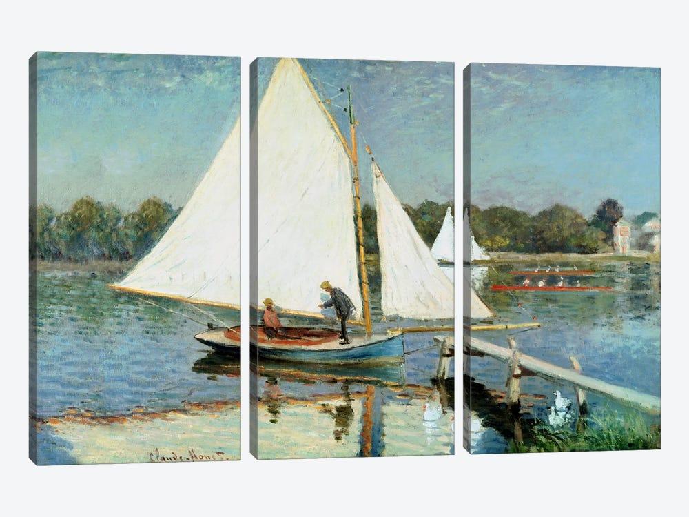 Sailing at Argenteuil, c.1874  by Claude Monet 3-piece Canvas Artwork