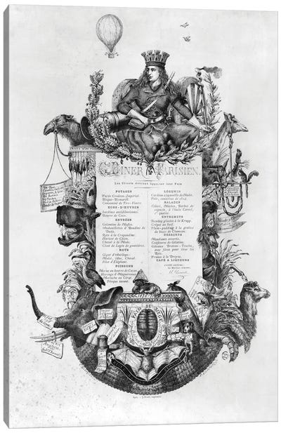 Menu Displayed During The Siege Of Paris, Grand Diner Parisien, 1870-71 Canvas Art Print