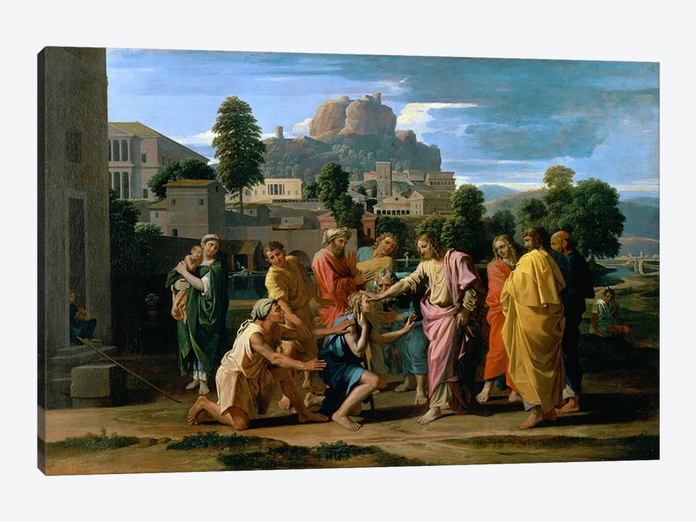 The Blind of Jericho, or Christ Healing the Blind, 1650  by Nicolas Poussin 1-piece Art Print