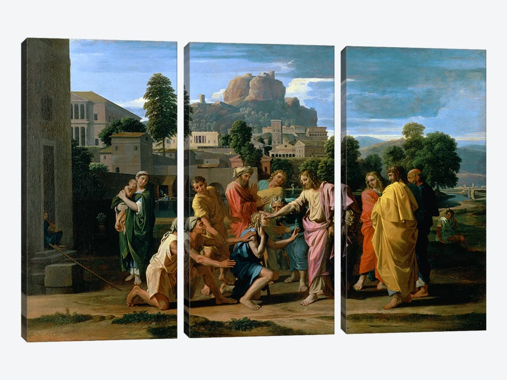 The Blind of Jericho, or Christ Healing the Blind, 1650 by Nicolas Poussin 3-piece Canvas Art Print