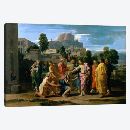 The Blind of Jericho, or Christ Healing the Blind, 1650  Canvas Print #BMN1136} by Nicolas Poussin Canvas Print