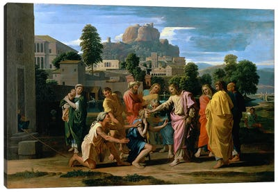 The Blind of Jericho, or Christ Healing the Blind, 1650  Canvas Art Print