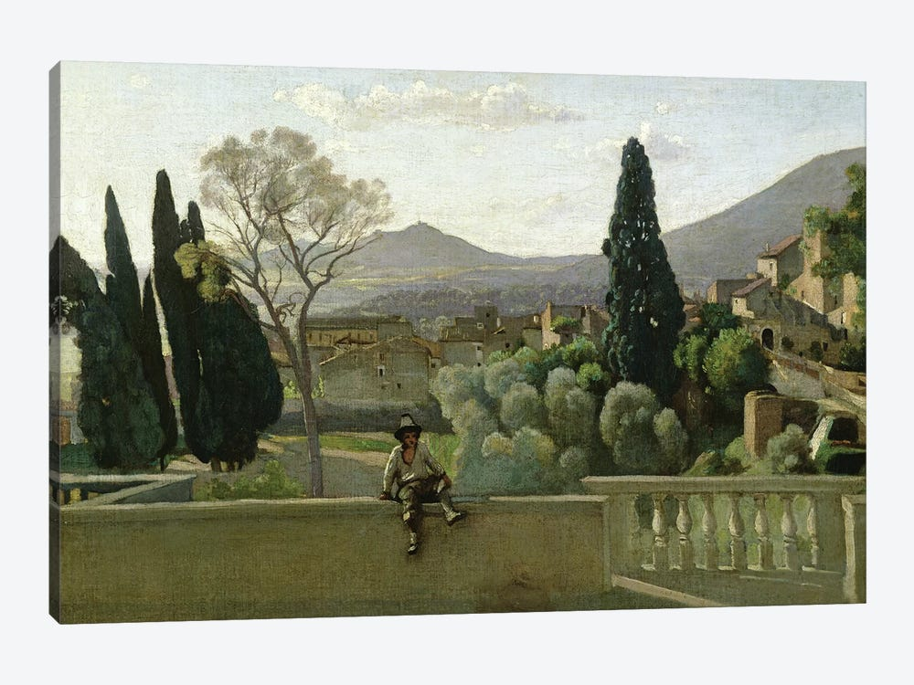 The Gardens of the Villa d'Este, Tivoli, 1843  by Jean-Baptiste-Camille Corot 1-piece Canvas Wall Art
