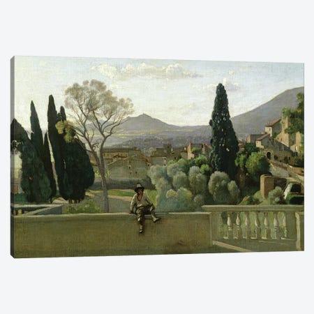 The Gardens of the Villa d'Este, Tivoli, 1843  Canvas Print #BMN1137} by Jean-Baptiste-Camille Corot Art Print