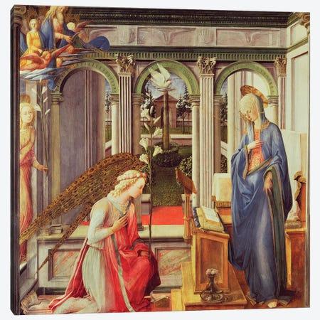 Annunciation To Mary (Alte Pinakothek), c.1443-45 Canvas Print #BMN11381} by Fra Filippo Lippi Canvas Art Print