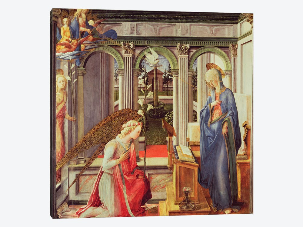 Annunciation To Mary (Alte Pinakothek), c.1443-45 by Fra Filippo Lippi 1-piece Canvas Print
