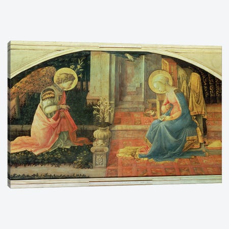 The Annunciation (National Gallery, London), c.1450-53 Canvas Print #BMN11382} by Fra Filippo Lippi Canvas Art Print