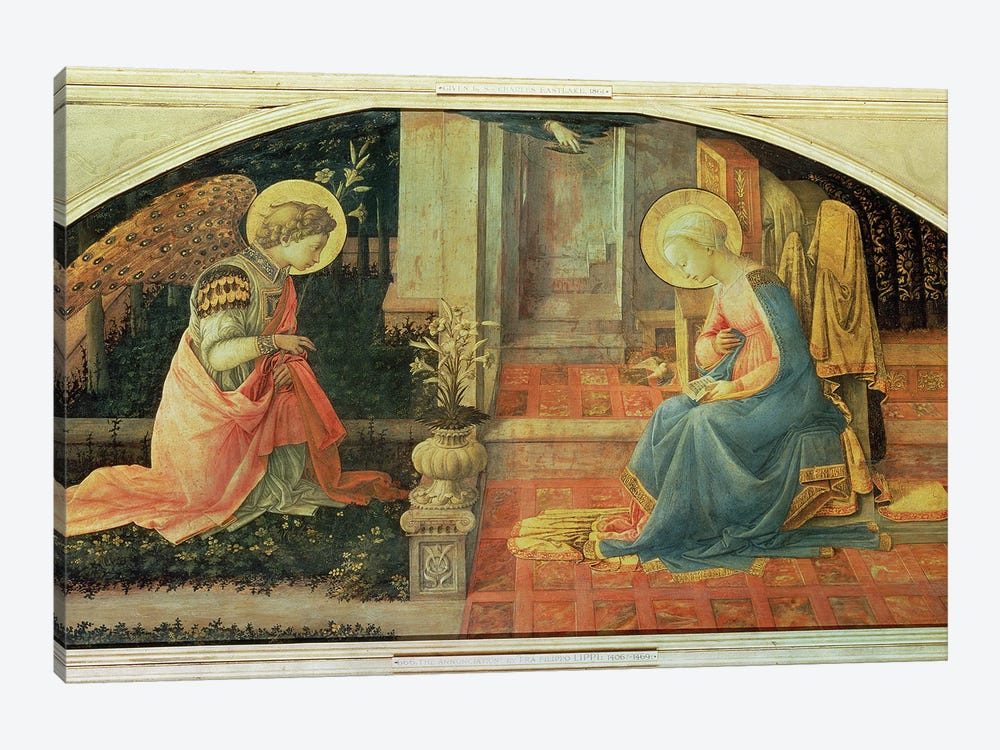 The Annunciation (National Gallery, London), c.1450-53 by Fra Filippo Lippi 1-piece Canvas Art