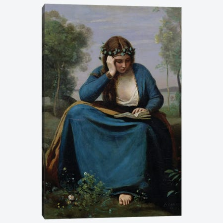 The Reader Crowned with Flowers, or Virgil's Muse, 1845  Canvas Print #BMN1138} by Jean-Baptiste-Camille Corot Canvas Art