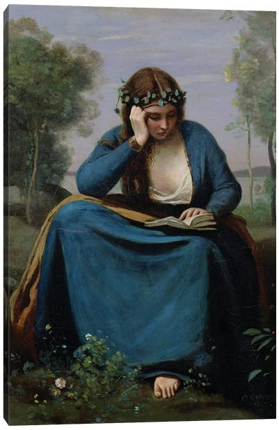 The Reader Crowned with Flowers, or Virgil's Muse, 1845  Canvas Art Print