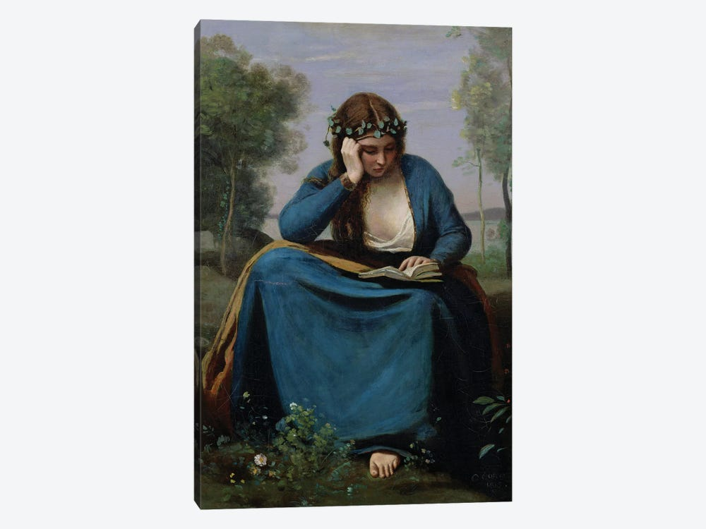 The Reader Crowned with Flowers, or Virgil's Muse, 1845  by Jean-Baptiste-Camille Corot 1-piece Canvas Art Print