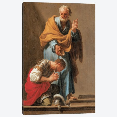 St. Peter Baptising The Centurion Cornelius Canvas Print #BMN11396} by Francesco Trevisani Canvas Art Print