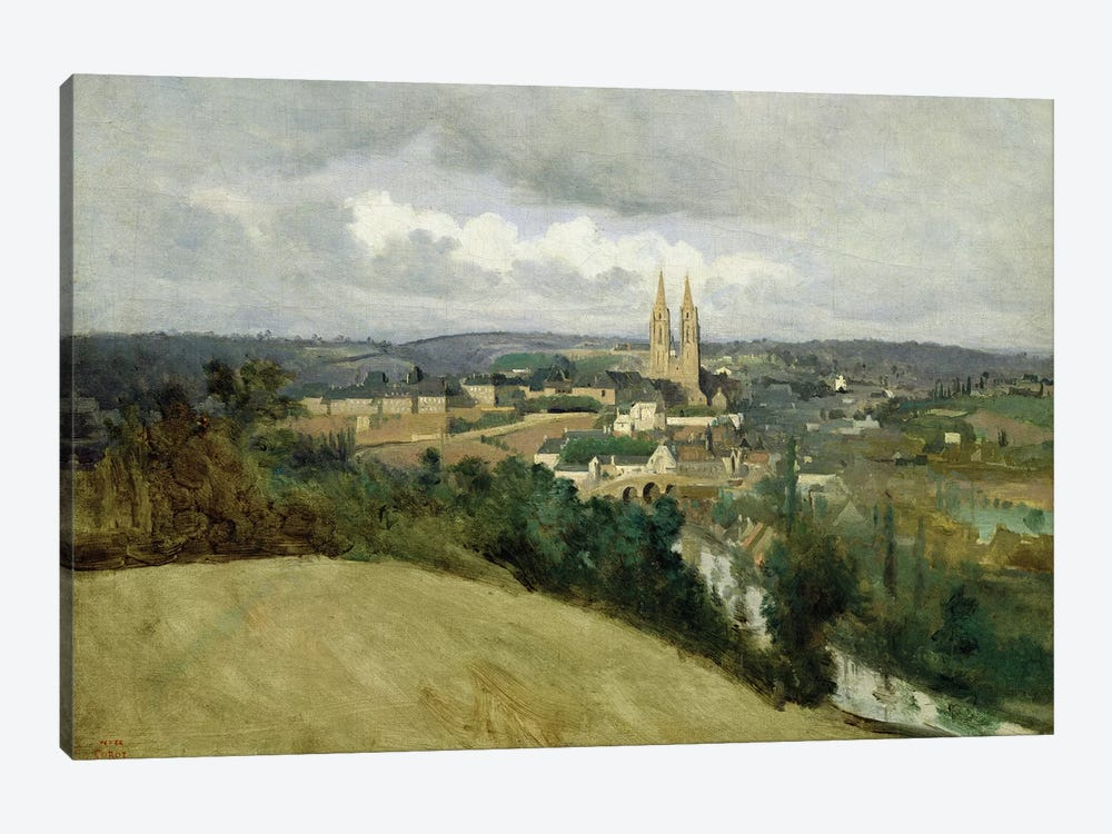 General View of the Town of Saint-Lo, c.1833  by Jean-Baptiste-Camille Corot 1-piece Canvas Wall Art