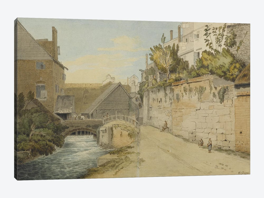 Exeter: Between The Quay Gate And West Gate Outside The City Walls, 1791 by Francis Towne 1-piece Canvas Wall Art