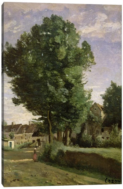 Outskirts of a village near Beauvais, c.1850  Canvas Art Print