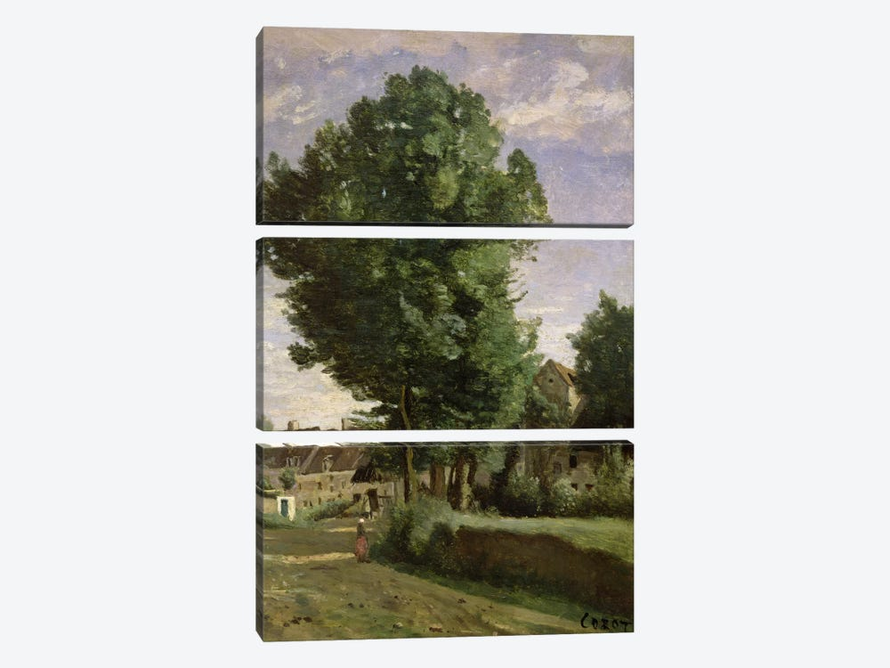 Outskirts of a village near Beauvais, c.1850  by Jean-Baptiste-Camille Corot 3-piece Canvas Art