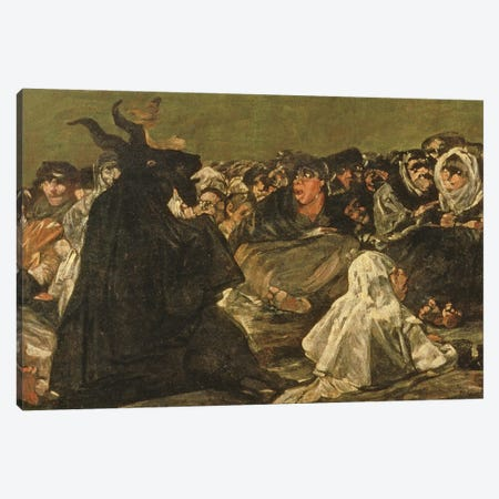 Deatil Of Satan, The Witches' Sabbath (The Great He-Goat), c.1821-23 Canvas Print #BMN11416} by Francisco Goya Canvas Artwork