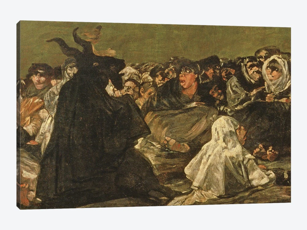 Deatil Of Satan, The Witches' Sabbath (The Great He-Goat), c.1821-23 by Francisco Goya 1-piece Canvas Wall Art