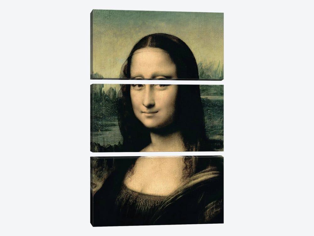 Detail of the Mona Lisa, c.1503-6  by Leonardo da Vinci 3-piece Canvas Art Print
