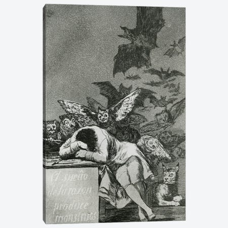 The Sleep Of Reason Produces Monsters (B&W Photo Of Illustration From Los Caprichos), 1799 Canvas Print #BMN11426} by Francisco Goya Art Print