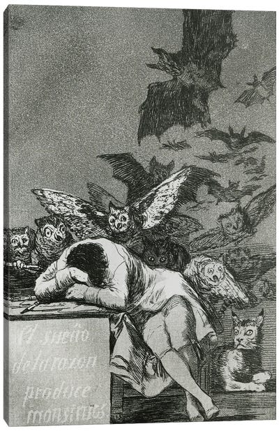 The Sleep Of Reason Produces Monsters (B&W Photo Of Illustration From Los Caprichos), 1799 Canvas Art Print