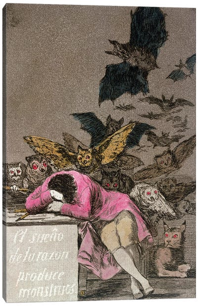 The Sleep Of Reason Produces Monsters (Color Illustration From Los Caprichos), 1799 Canvas Art Print