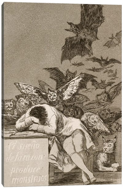 The Sleep Of Reason Produces Monsters (Illustration From Los Caprichos), 1799 Canvas Art Print