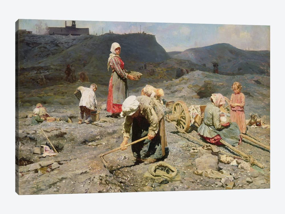 Poor People Gathering Coal at an Exhausted Mine, 1894  by Nikolaj Alekseevich Kasatkin 1-piece Canvas Artwork
