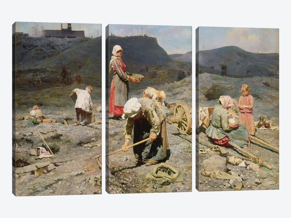 Poor People Gathering Coal at an Exhausted Mine, 1894  by Nikolaj Alekseevich Kasatkin 3-piece Canvas Wall Art