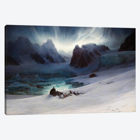 Magdalena Bay, View From The Peninsula Of The Tombs, Northern Spitsbergen With Aurora Borealis, 1841 Canvas Print #BMN11430} by Francois Auguste Biard Canvas Print
