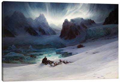 Magdalena Bay, View From The Peninsula Of The Tombs, Northern Spitsbergen With Aurora Borealis, 1841 Canvas Art Print